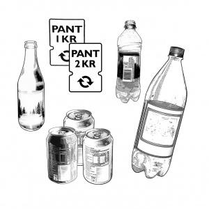 Pantflaskor och pantburkar.