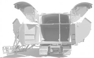 Backstycke på en lastbil delat i fyra fack.