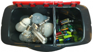 Ex box innehållande ljuskällor samt batterier.
