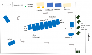 En karta över återvinningscentralen i Marieholm.