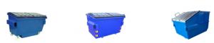 Tre blåa containrar.